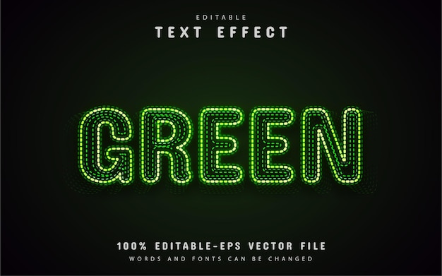 Efeito de texto neon verde com pontos