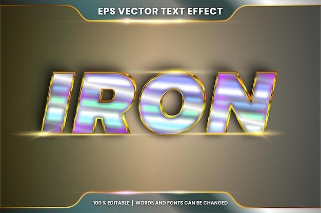 Efeito de texto no tema de estilos de fonte de palavras de ferro 3d editável realista metal prata e ouro conceito de combinação de cores