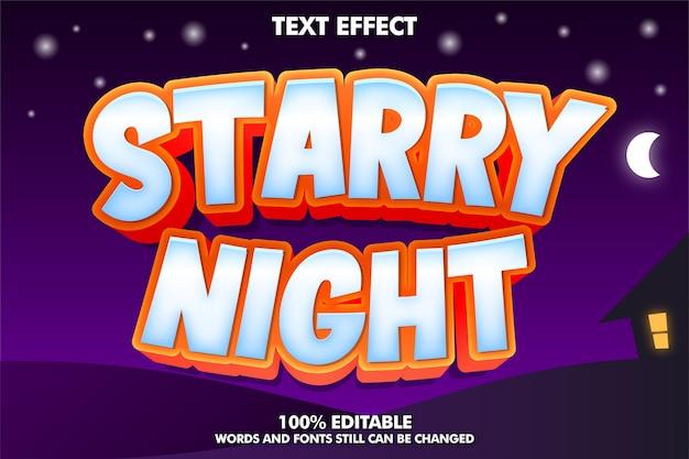 Efeito de texto noite estrelada com fundo noturno