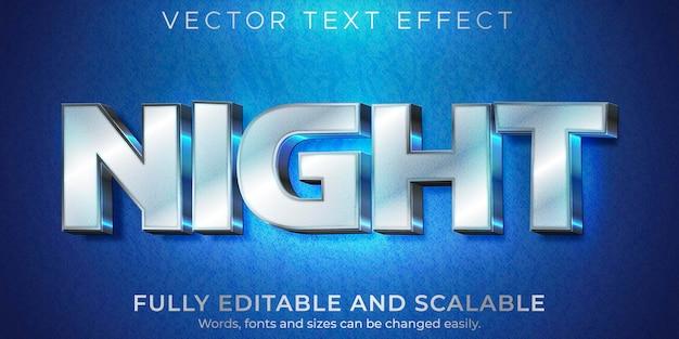 Efeito de texto noturno metálico, estilo de texto editável brilhante e elegante