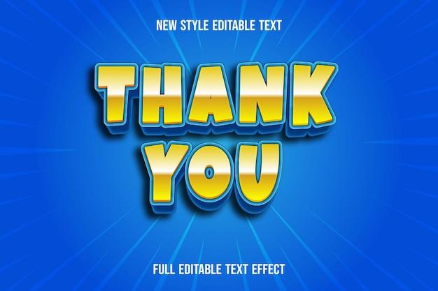 Efeito de texto obrigado cor amarelo e azul