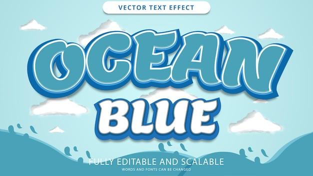 Efeito de texto oceano azul editável