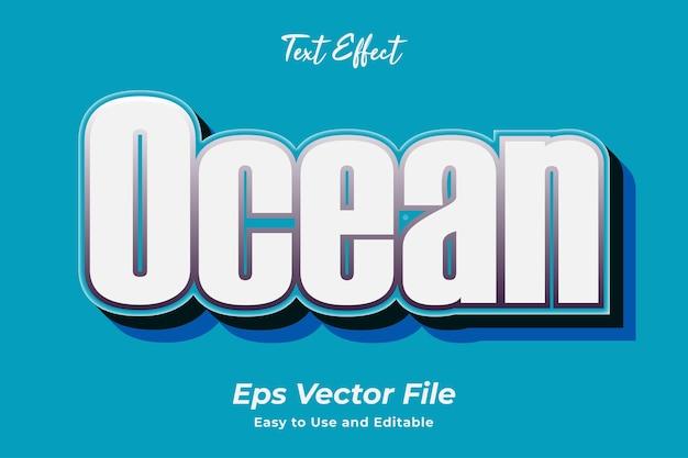 Efeito de texto oceano editável e fácil de usar premium vetor