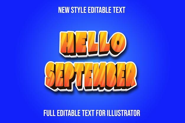 Efeito de texto olá, cor de setembro, gradiente laranja e branco