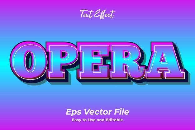 Efeito de texto opera editável e fácil de usar vetor premium