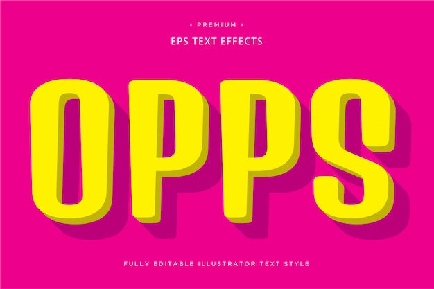 Efeito de texto opps 3d estilo de texto 3d
