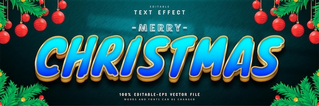 Efeito de texto ouro azul feliz natal