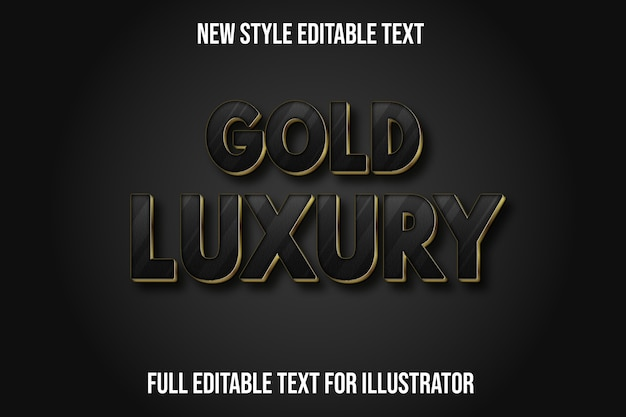 Efeito de texto ouro luxo cor preto e gradiente dourado