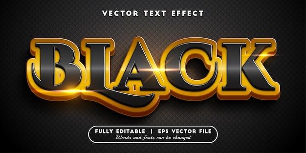 Efeito de texto ouro preto com estilo de texto editável