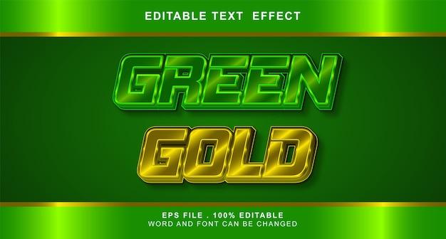 Efeito de texto ouro verde editável