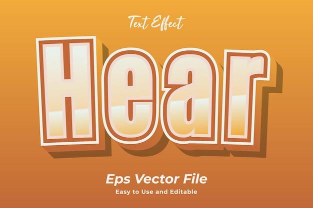 Efeito de texto ouvir vetor premium editável e fácil de usar