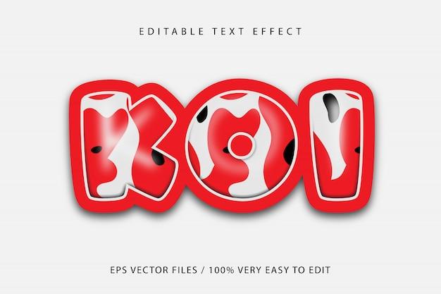 Efeito de texto padrão de peixes koi, texto editável