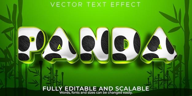 Efeito de texto panda, estilo de texto animal e fofinho editável