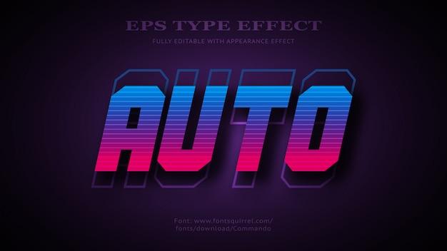 Efeito de texto para auto com estilo 3d ousado futurista legal