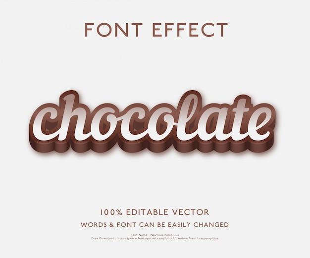 Efeito de texto para chocolate com estilo 3d em negrito premium vector