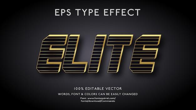 Efeito de texto para elite com premium em estilo 3d arrojado