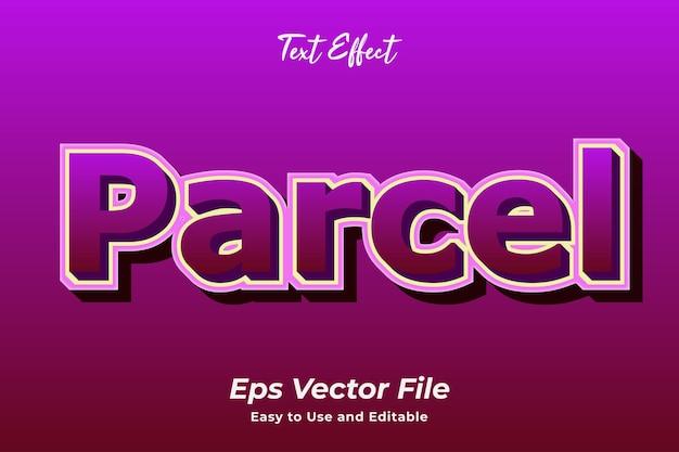 Efeito de texto parcel editável e fácil de usar premium vector