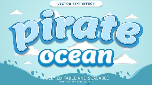Efeito de texto pirata oceano editável