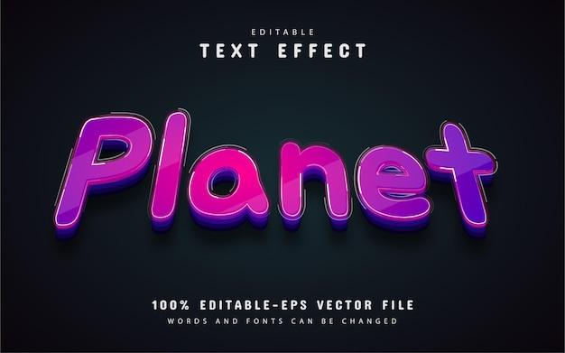 Efeito de texto planeta roxo editável