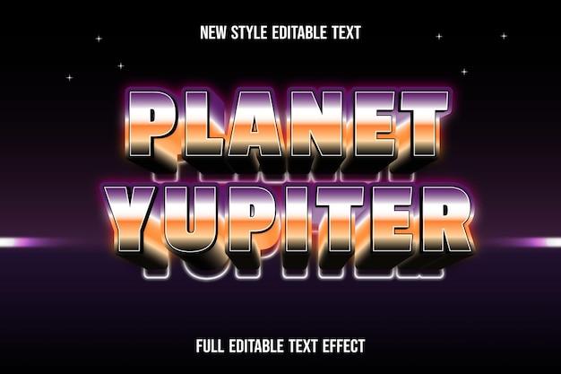 Efeito de texto planeta yupiter cor laranja e roxo preto