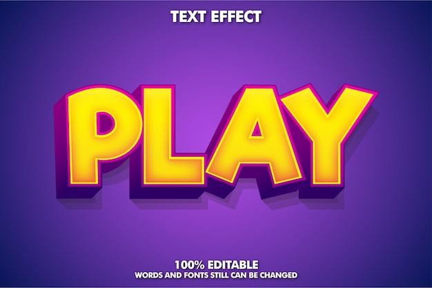 Efeito de texto poderoso estilo de jogo com play word