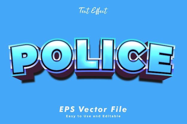 Efeito de texto policial. editável e fácil de usar. efeito de tipografia