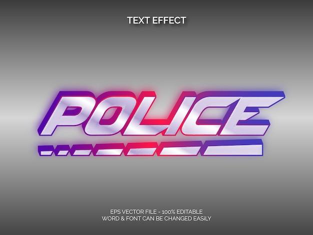 Efeito de texto policial tema de néon de efeito de texto editável