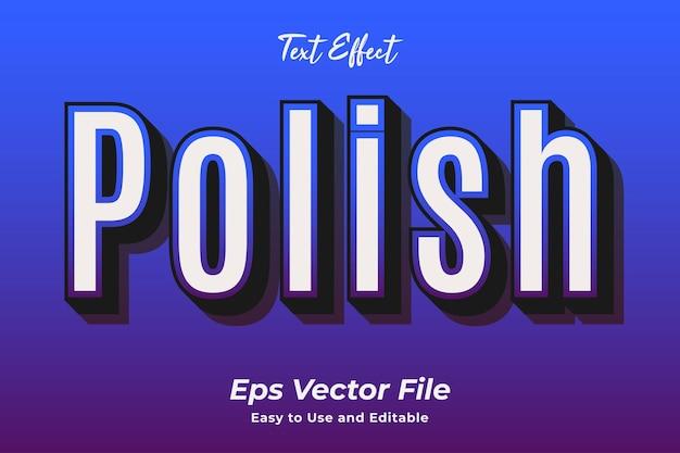 Efeito de texto polonês editável e fácil de usar vetor premium
