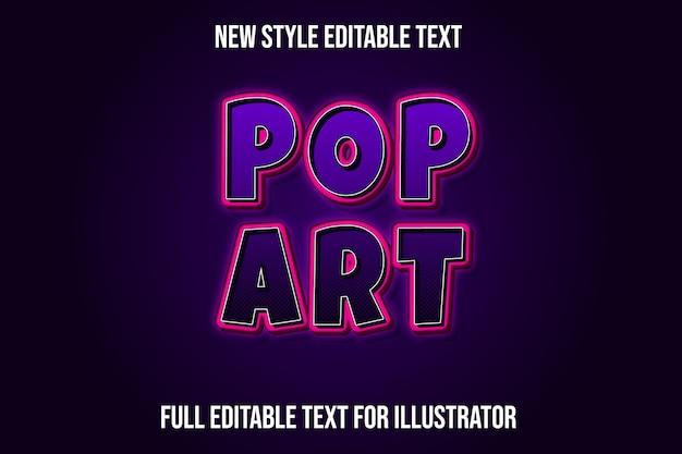 Efeito de texto pop art com gradiente roxo e rosa