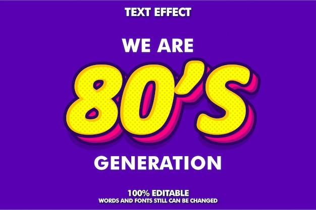 Efeito de texto pop art dos anos 80 para design retro