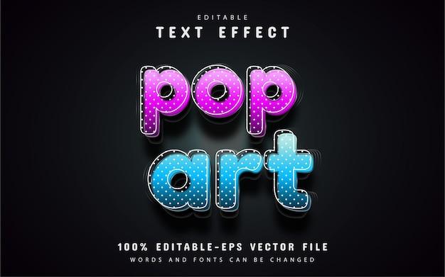 Efeito de texto pop art editável