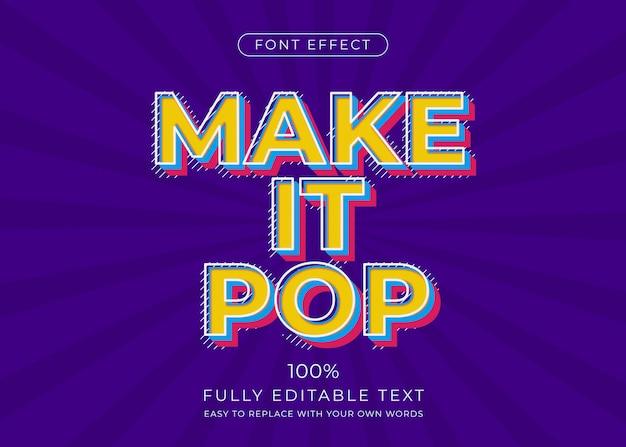 Efeito de texto pop art. estilo de fonte