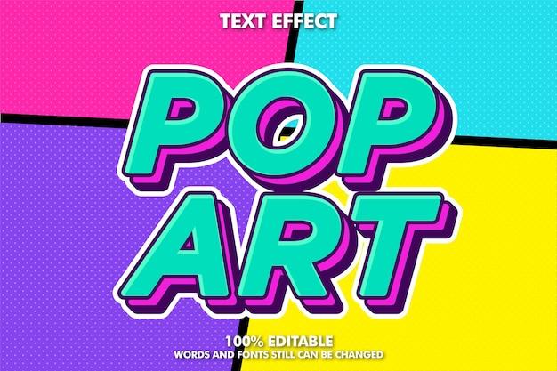 Efeito de texto pop art moderno, design retro em quadrinhos