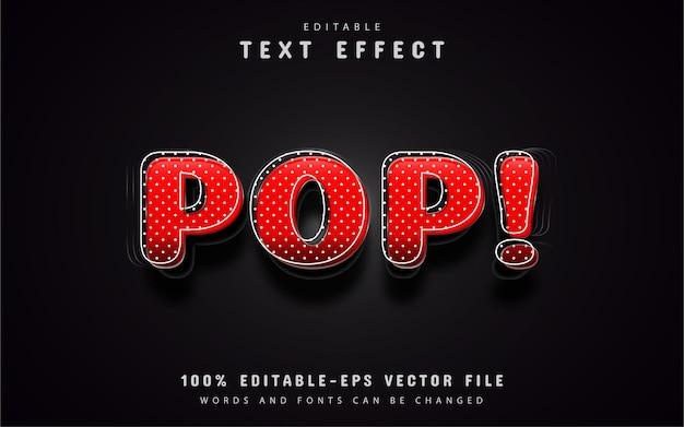 Efeito de texto pop art vermelho 3d