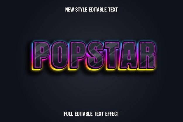 Efeito de texto pop star cor preto azul rosa e amarelo