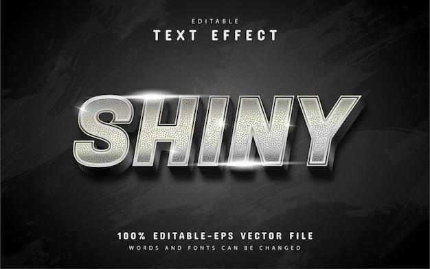Efeito de texto prateado brilhante com padrão isolado em preto