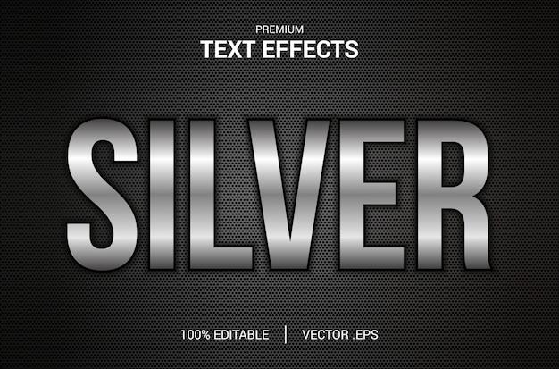Efeito de texto prateado, conjunto efeito de texto prateado abstrato elegante, efeito de fonte editável do estilo texto prateado