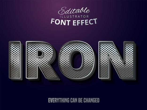 Efeito de texto prateado metálico, estilo alfabeto de aço brilhante