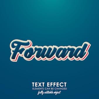 Efeito de texto premium de encaminhamento de letra com desing 3d e belo tema azul
