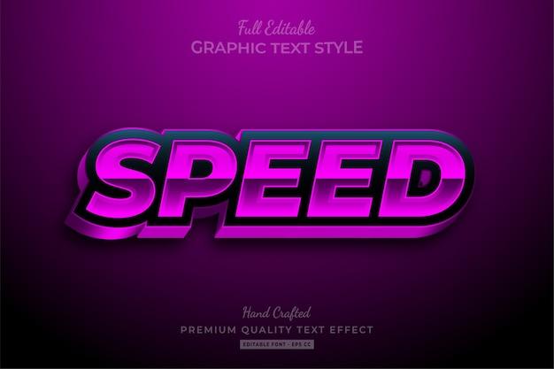 Efeito de texto premium editável de corrida de velocidade