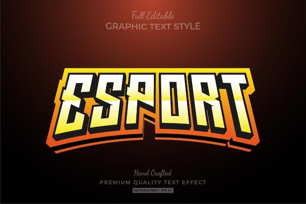 Efeito de texto premium editável do esport team orange gradient