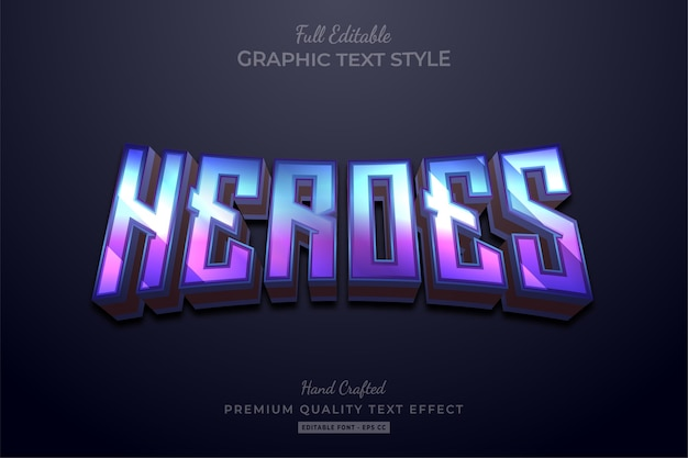 Efeito de texto premium editável em gradiente heroes
