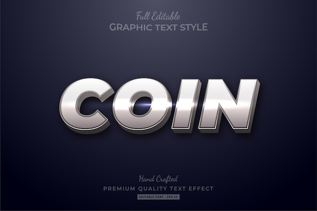 Efeito de texto premium editável silver coin shine