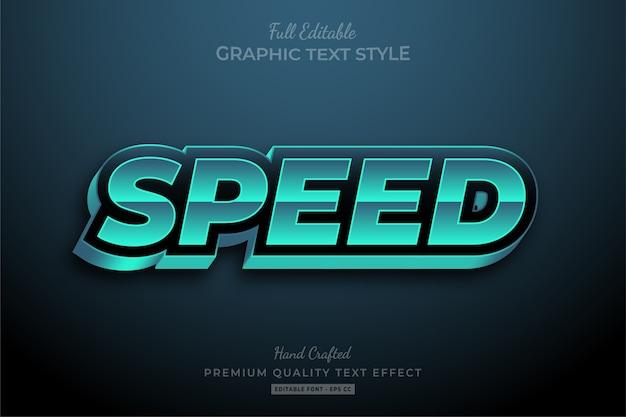 Efeito de texto premium editável turquesa speed racing