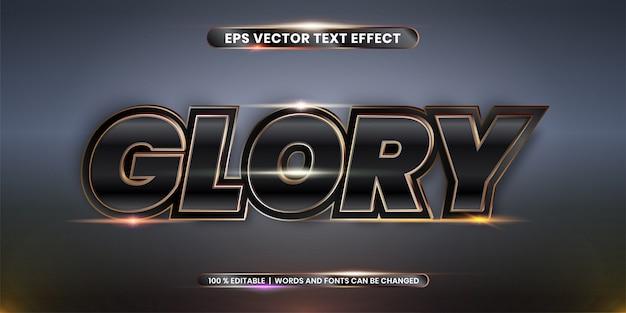 Efeito de texto premium glory em preto e dourado
