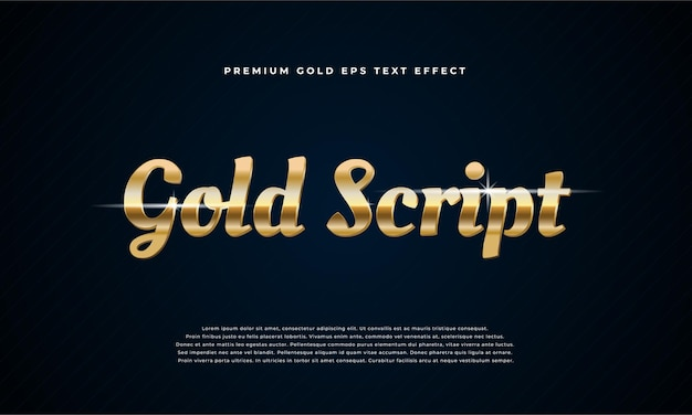 Efeito de texto premium gold script