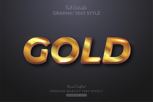 Efeito de texto premium golden glow editável