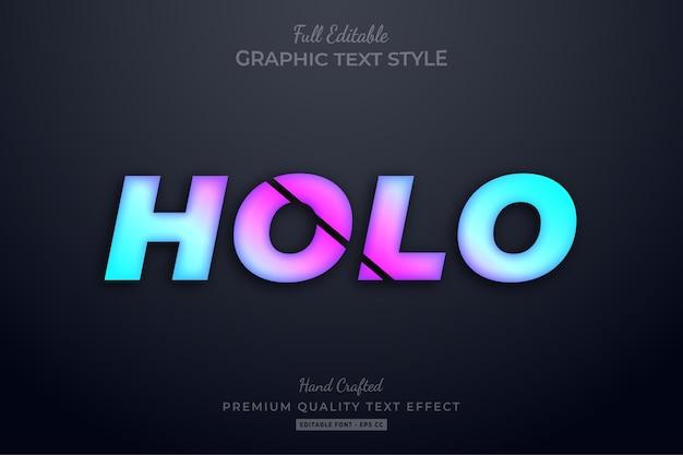 Efeito de texto premium holo gradient editável