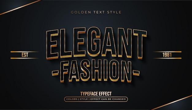 Efeito de texto preto e dourado elegante