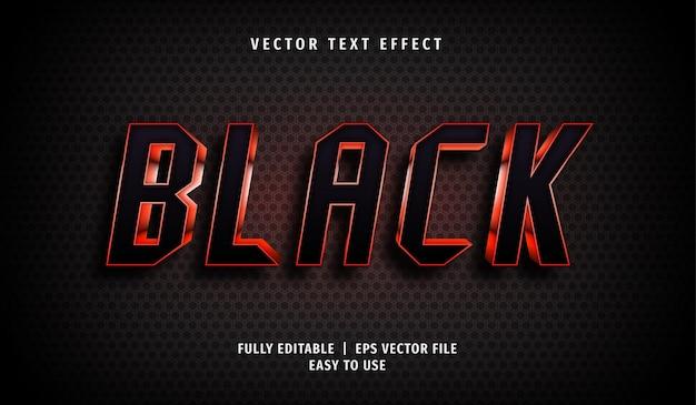 Efeito de texto preto, estilo de texto editável